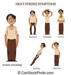 vektor, värme stryk, sätta, lägenhet, man, symtomer