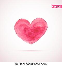 vektor, vízfestmény, szív, helyett, valentin nap, tervezés