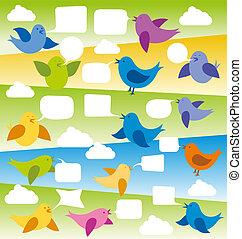 vektor, vögel, karte