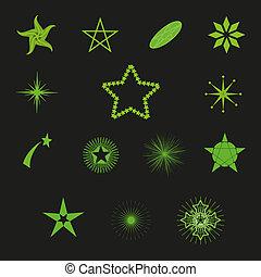 vektor, vacker, stjärnor