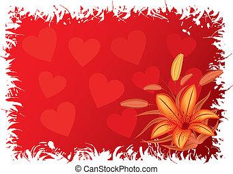 vektor, valentinkort, grunge, hjärtan, bakgrund