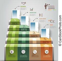 vektor, vara, använd, affär, trappa, workflow, dörröppning, ...