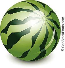 vektor, vattenmelon, illustration