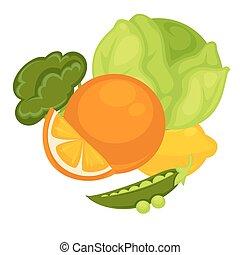 vektor, vegetables:, káposzta, narancs, citrom