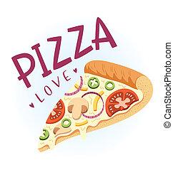 vektor, vegetarier, scheibe, pizza, abbildung