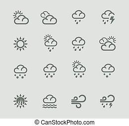 vektor, vejr forecast, pictogram