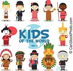 vektor, verschieden, kinder, angezogene , national, kostüme, illustration:, satz, charaktere, nationalitäten, welt, 2., 12