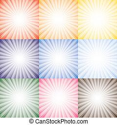 vektor, vertritt, verschieden, satz, rosa, bunte, sonne, sonnenschein, himmelsgewölbe, sammlung, mögen, orange, farben, strahlen, gegen, hintergrund, grafik, gelber , seasons., rotes , blaues