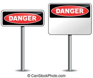 vektor, veszély, útjelző tábla