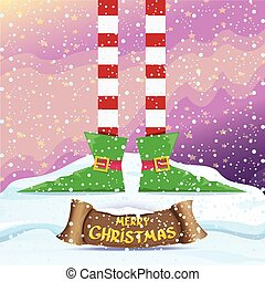 vektor, vidám christmas, kártya, noha, karikatúra, elfs