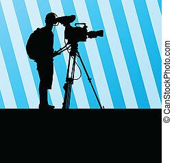 vektor, video, hintergrund, bediener, camcorder,...