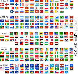 vektor, világ, állhatatos, zászlók, ország