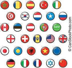 vektor, világ, gombol, állhatatos, flags.