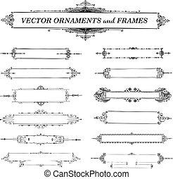 vektor, vinhøst, ramme, og, ornamentere, sæt