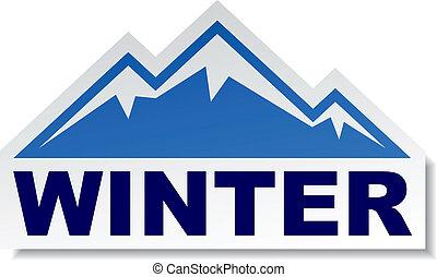 vektor, vinter, fjäll, märke