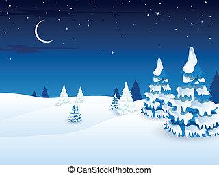 vektor, vinter landskap