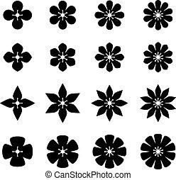 vektor, virág, fekete, fehér, jelkép