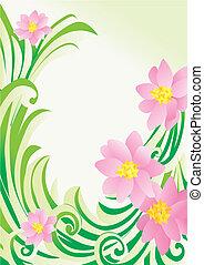 vektor, virág, zöld, sarok, white, háttérfüggöny