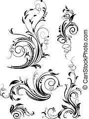 vektor, virágos, díszlet tervezés, elements.