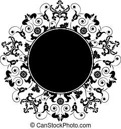 vektor, virágos, elem, tervezés, keret