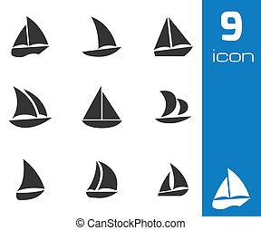 vektor, vitorlás hajó, állhatatos, fekete, ikonok