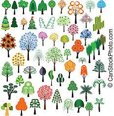 vektor, von, bäume
