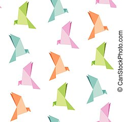 Seamless Origami Vögel Muster Quadrat Falten Stoff Format