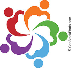 vektor, von, gemeinschaftsarbeit, herzen, logo