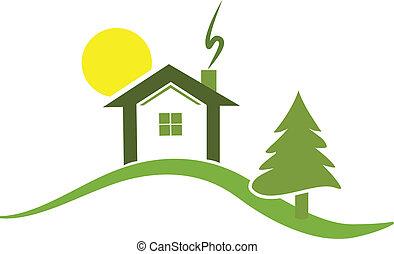 vektor, von, grünes haus, logo