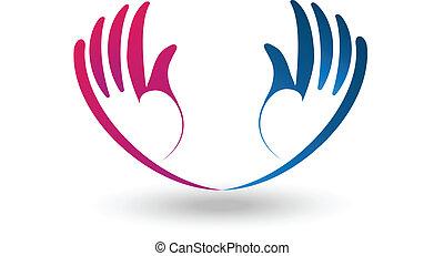 vektor, von, hoffnungsvoll, hände, logo