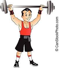 vektor, von, mann, machen, weightlifting.