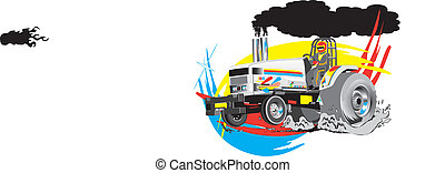 vektor, vontatás, traktor