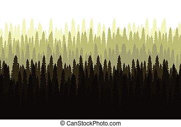 vektor, wald, landschaftsbild, kiefer