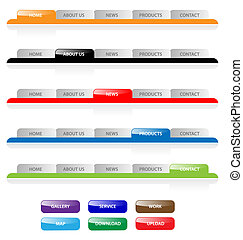 vektor, web, buttons., vorsprünge, aqua, standort, bearbeiten, satz, leicht, size., 2.0, schifffahrt, irgendein