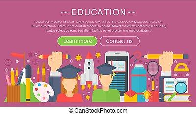 vektor, web, satz, elemente, illustration., heiligenbilder, beweglich, plakat, online, wohnung, bildung, banners., begriff, design, lernen, infographics, dienstleistungen, apps., design