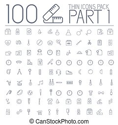 vektor, web, satz, heiligenbilder, whether, themes., musik, pictogram., geschaeftswelt, bildung, 1, medizin, design, abbildung, sport, teil, ofiice, linie, mobile., 100, schlanke