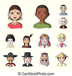 vektor, web, satz, illustration., leute, symbol, heiligenbilder, sammlung, rennen, menschliche , nationalität, design., karikatur, bestand