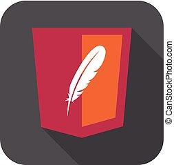 vektor, webentwicklung, rotes , schutzschirm, zeichen, -, html5, styled, abzeichen, mit, feder, form., freigestellt, ikone