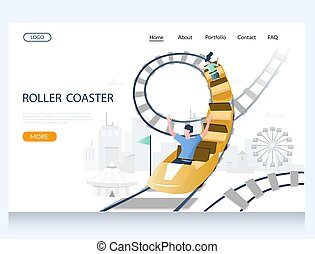 vektor, website, schablone, untersetzer, seite, rolle, landung, design
