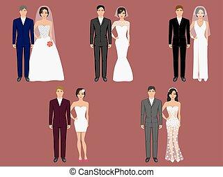 vektor, wedding, kleidung, gewand, verschieden, kostüme