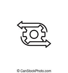 vektor, weißes, hintergrund., organisation, concept., ikone, effektiv, abbildung, prozess, workflow, geschaeftswelt, wohnung, style., freigestellt, ausrüstung