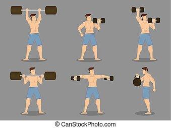 vektor, weightlifting, ikone, satz