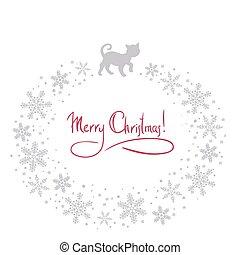 vektor, weihnachten, hintergrund, katz
