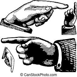 vektor, weinlese, deutende finger