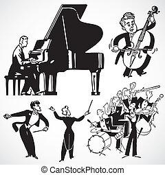 vektor, weinlese, musiker, und, instrumente