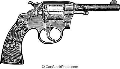 vektor, weinlese, pistole