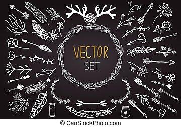 vektor, weinlese, satz, blumen-, elements.
