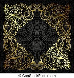 vektor, weinlese, umrandungen, rahmen, stich, mit, retro, verzierung, muster, in, antikes , rokokostil, dekoratives design