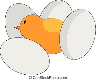 vektor, wenig, risse, farbe, eier, amidst, vier, ohne, abbildung, küken, oder
