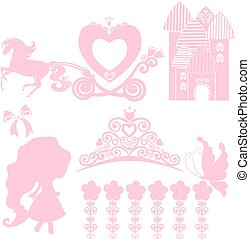 vektor, wenig, satz, tanzen, palast, girl., aschenbrödel, geburstag, glanz, krone, invitation., tiara., design, wagen, wedding, pegasus, illustration., prinzessin, karten, elemente, collections.